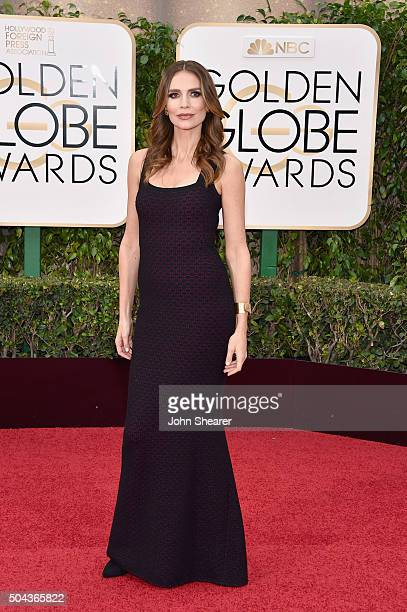 Actress Saffron Burrows attends the 73rd Annual Golden Globe Awards held at the Beverly Hilton Hotel on January 10 2016 in Beverly Hills California