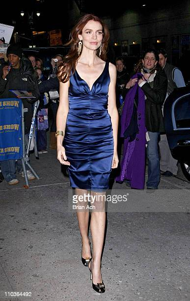 Actress Saffron Burrows visits 'Late Show with David Letterman' on February 19 at the Ed Sullivan Theatre in New York City