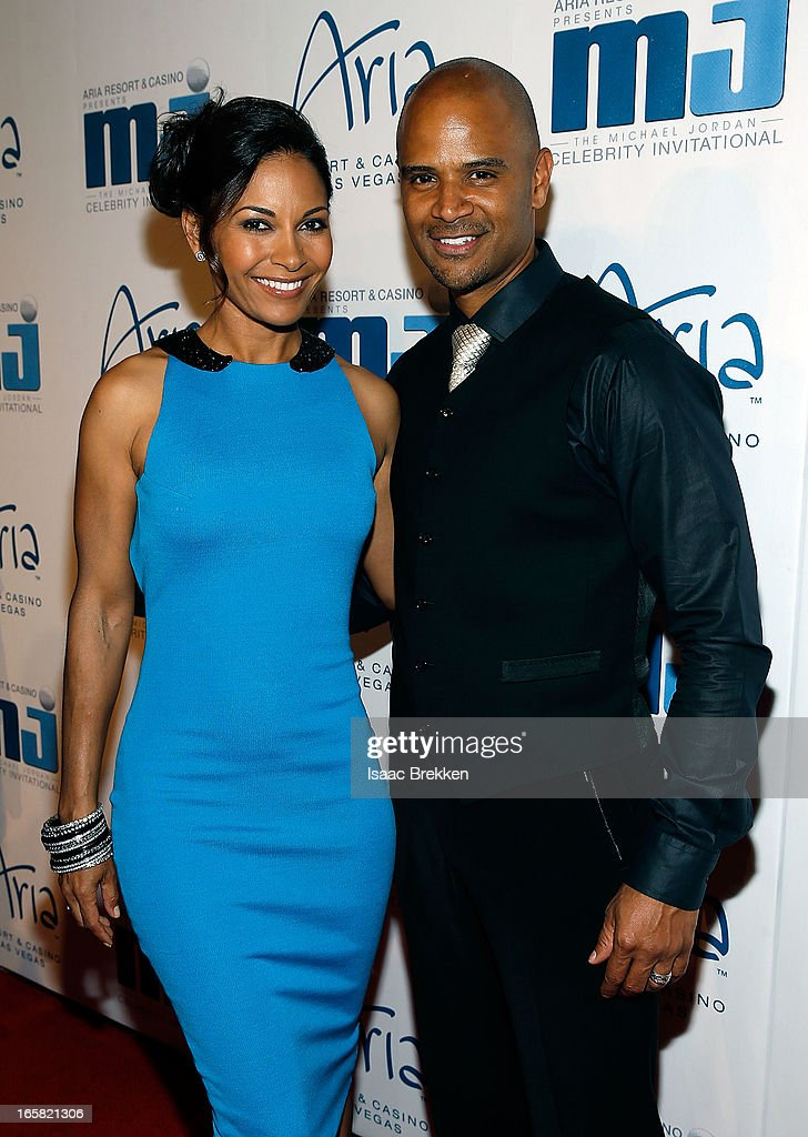 Actress <a gi-track='captionPersonalityLinkClicked' href=/galleries/search?phrase=Salli+Richardson&family=editorial&specificpeople=2717812 ng-click='$event.stopPropagation()'>Salli Richardson</a>-Whitfield and husband Dondre Whitfield arrive at the 12th Annual Michael Jordan Celebrity Invitational Gala At ARIA Resort & Casino on April 5, 2013 in Las Vegas, Nevada.