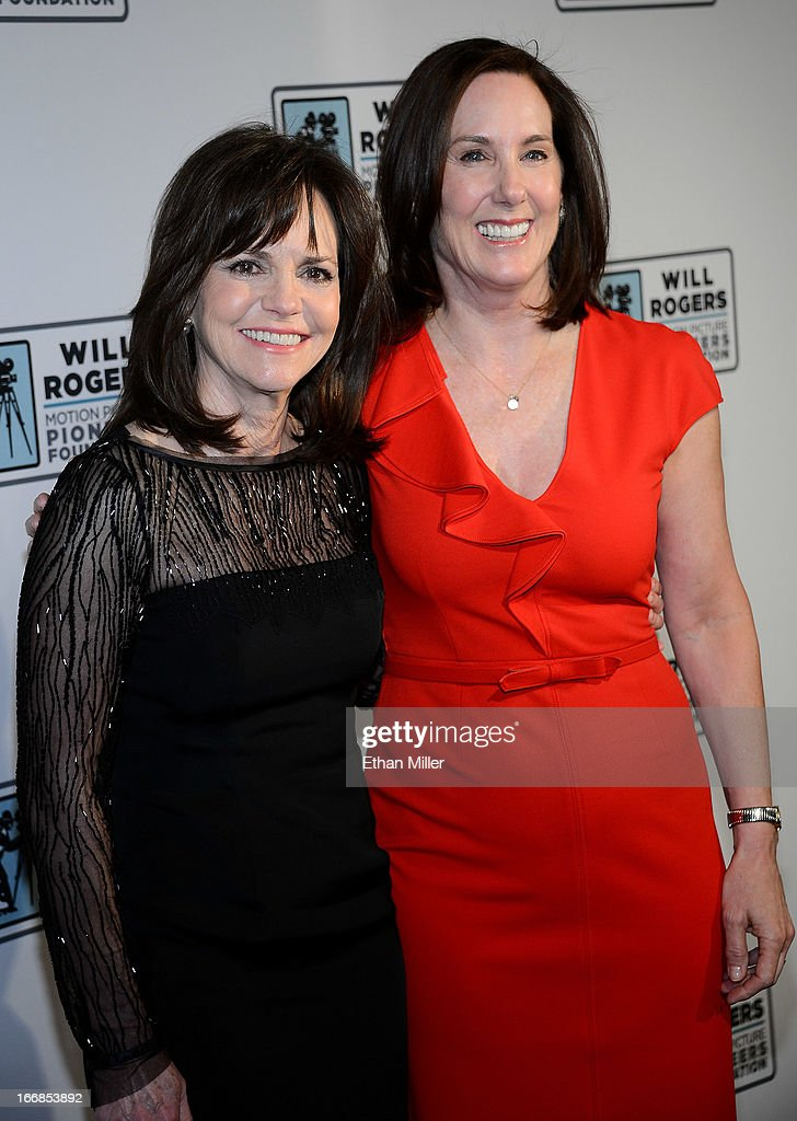 Actress <a gi-track='captionPersonalityLinkClicked' href=/galleries/search?phrase=Sally+Field&family=editorial&specificpeople=206350 ng-click='$event.stopPropagation()'>Sally Field</a> (L) and producer Kathleen Kennedy arrive at a Will Rogers Motion Picture Pioneers Foundation dinner honoring Kennedy with the 2013 Pioneer of the Year Award at Caesars Palace during CinemaCon, the official convention of the National Association of Theatre Owners, on April 17, 2013 in Las Vegas, Nevada.
