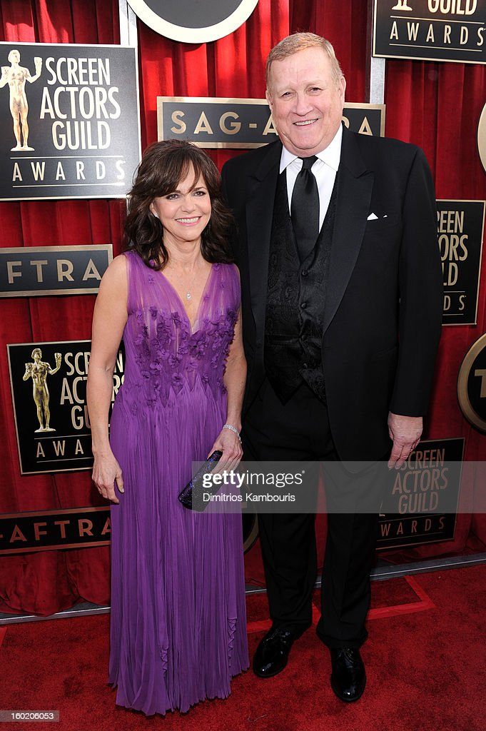Actress Sally Field (L) and SAG co-president Ken Howard (R) attend the 19th Annual Screen Actors Guild Awards at The Shrine Auditorium on January 27, 2013 in Los Angeles, California. (Photo by Dimitrios Kambouris/WireImage) 23116_013_0673.JPG