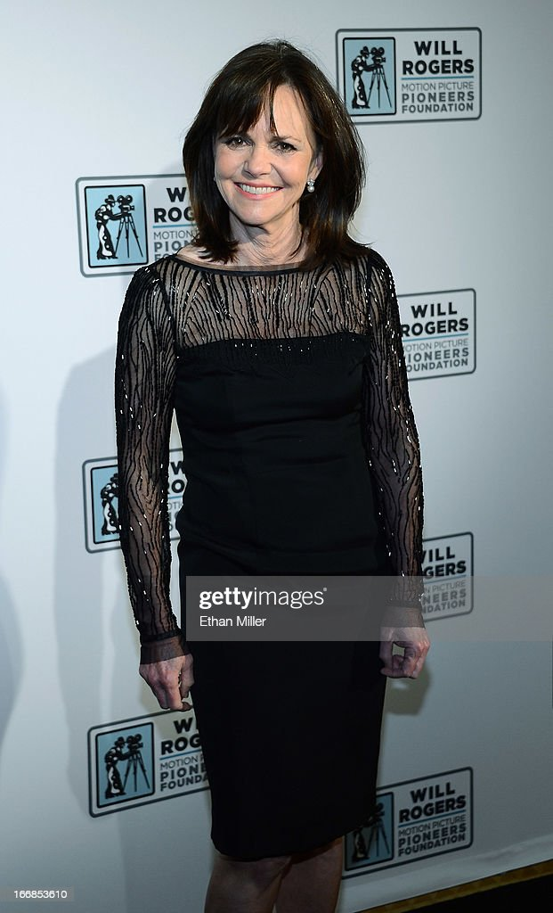 Actress <a gi-track='captionPersonalityLinkClicked' href=/galleries/search?phrase=Sally+Field&family=editorial&specificpeople=206350 ng-click='$event.stopPropagation()'>Sally Field</a> arrives at a Will Rogers Motion Picture Pioneers Foundation dinner honoring producer Kathleen Kennedy with the 2013 Pioneer of the Year Award at Caesars Palace during CinemaCon, the official convention of the National Association of Theatre Owners, on April 17, 2013 in Las Vegas, Nevada.