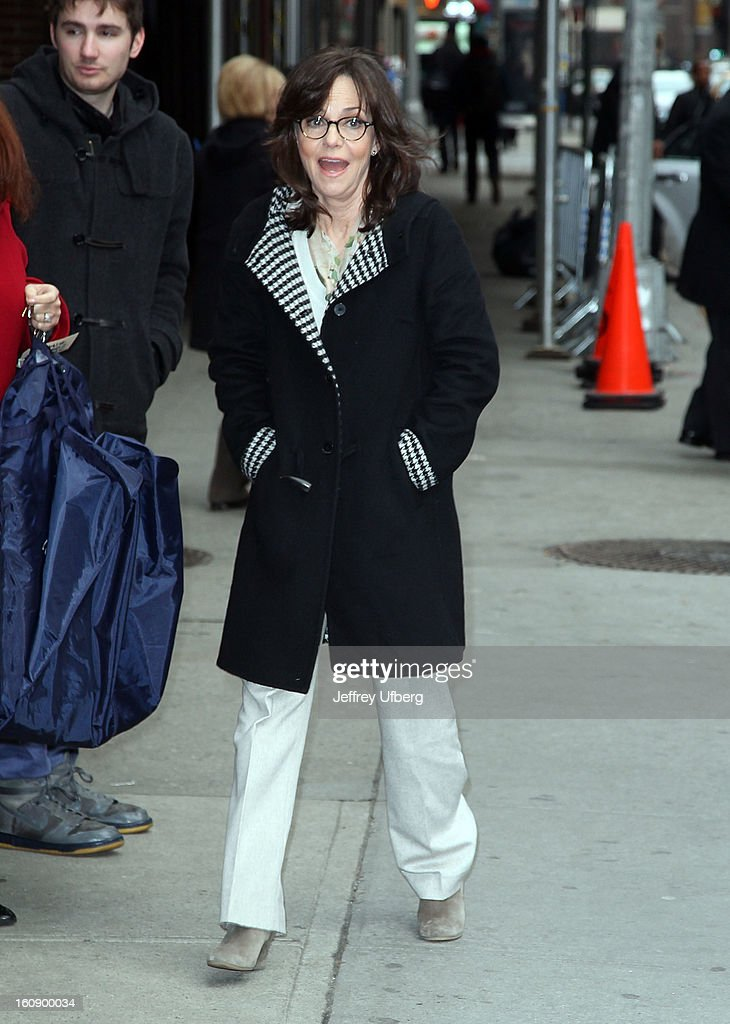 Actress <a gi-track='captionPersonalityLinkClicked' href=/galleries/search?phrase=Sally+Field&family=editorial&specificpeople=206350 ng-click='$event.stopPropagation()'>Sally Field</a> arrives to 'Late Show with David Letterman' at Ed Sullivan Theater on February 7, 2013 in New York City.