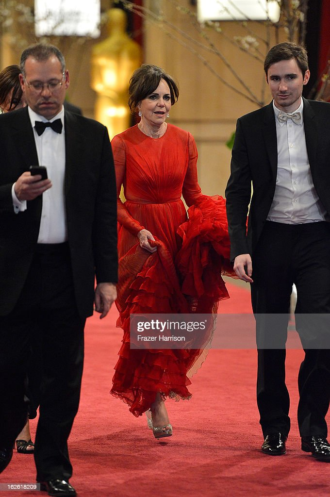 Actress Sally Field (C) departs the Oscars at Hollywood & Highland Center on February 24, 2013 in Hollywood, California.