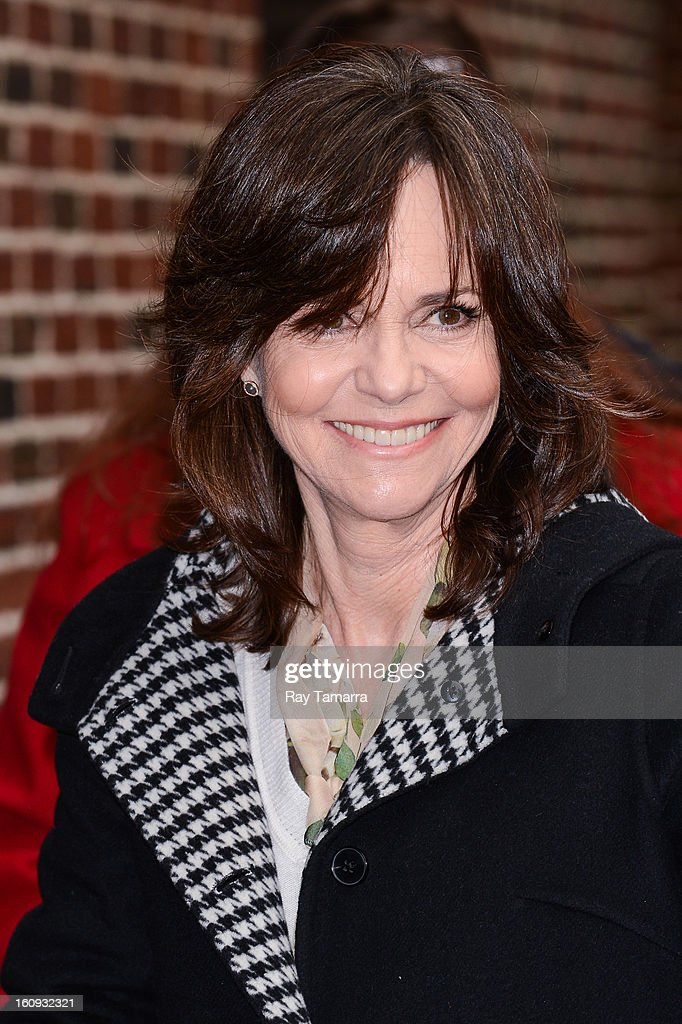 Actress Sally Field enters the 'Late Show With David Letterman' taping at the Ed Sullivan Theater on February 7, 2013 in New York City.