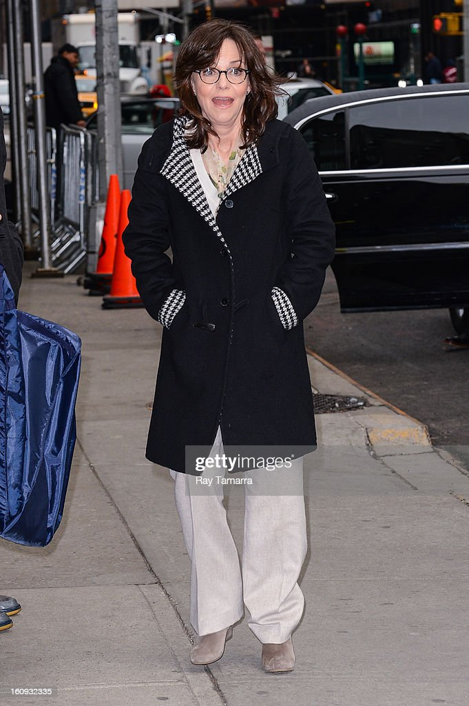 Actress <a gi-track='captionPersonalityLinkClicked' href=/galleries/search?phrase=Sally+Field&family=editorial&specificpeople=206350 ng-click='$event.stopPropagation()'>Sally Field</a> enters the 'Late Show With David Letterman' taping at the Ed Sullivan Theater on February 7, 2013 in New York City.