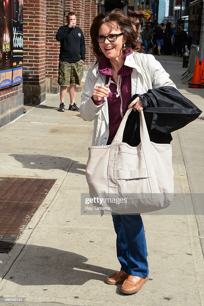 Actress Sally Field enters the 'Late Show With David Letterman' taping at the Ed Sullivan Theater on April 23 2014 in New York City