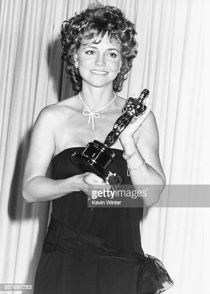 Actress Sally Field holding her 'Best Actress' Oscar for the film 'Places in the Heart' at the 57th Annual Academy Awards at the Shrine Auditorium in...