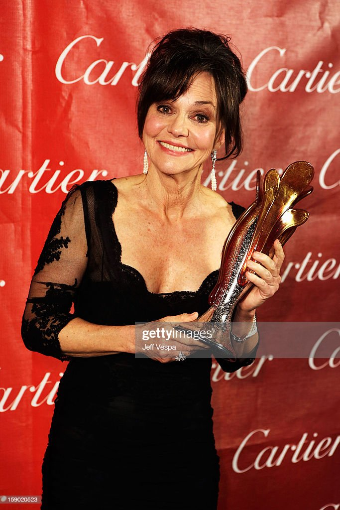 Actress Sally Field poses with the Career Achievement Award during the 24th annual Palm Springs International Film Festival Awards Gala at the Palm Springs Convention Center on January 5, 2013 in Palm Springs, California.