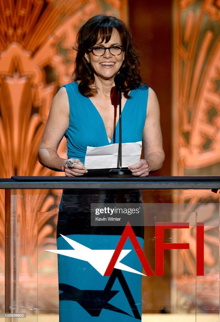 Actress <a gi-track='captionPersonalityLinkClicked' href=/galleries/search?phrase=Sally+Field&family=editorial&specificpeople=206350 ng-click='$event.stopPropagation()'>Sally Field</a> speaks onstage at the 40th AFI Life Achievement Award honoring Shirley MacLaine held at Sony Pictures Studios on June 7, 2012 in Culver City, California. The AFI Life Achievement Award tribute to Shirley MacLaine will premiere on TV Land on Saturday, June 24 at 9PM ET/PST.