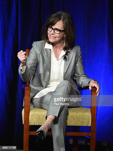 Actress Sally Field speaks to a sold out audience of more than 3300 attendees at the 2015 Simmons Leadership Conference at World Trade Center on...