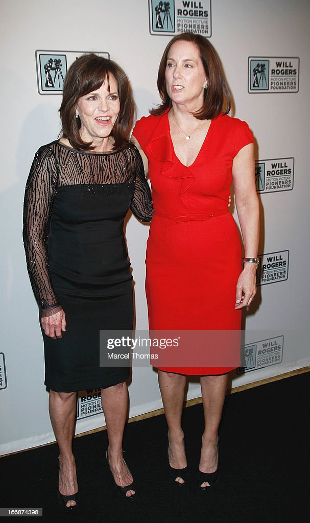 Actress Sally Fields and producer Kathleen Kennedy arrive at a Will Rogers Motion Pictures Pioneers Foundation dinner honoring producer Kathleen Kennedy with the 2013 Pioneer of the Year Award during CinemaCon 2013 at Caesars Palace on April 17, 2013 in Las Vegas, Nevada.
