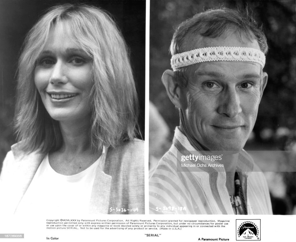 Actress Sally Kellerman and actor Tom Smothers on set of the Paramount Pictures movie 'Serial' in 1980