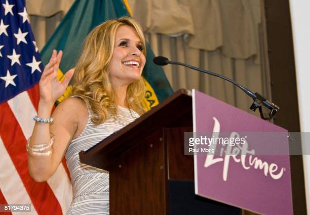 Actress Sally Pressman talks to the soldiers at the Lifetime Television screening of 'Army Wives' at Walter Reed Army Medical Center on July 1 2008...