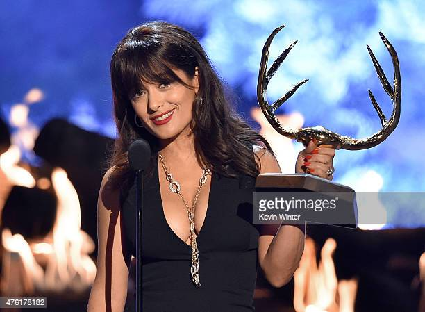 Actress Salma Hayek accepts the Decade of Hotness award onstage during Spike TV's Guys Choice 2015 at Sony Pictures Studios on June 6 2015 in Culver...