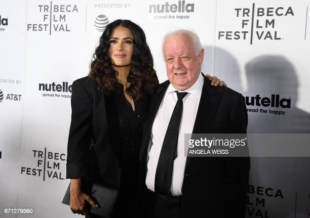 Actress Salma Hayek and director Jim Sheridan attends the Premiere of '11th Hour' during the 2017 Tribeca Film Festival at SVA Theater on April 21...