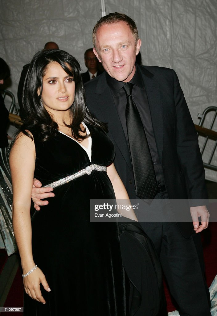 Actress Salma Hayek and fiance Francois-Henri Pinault, Chairman & CEO of the luxury goods company PPR, leave The Metropolitan Museum of Art's Costume Institute Gala May 07, 2007 in New York City.