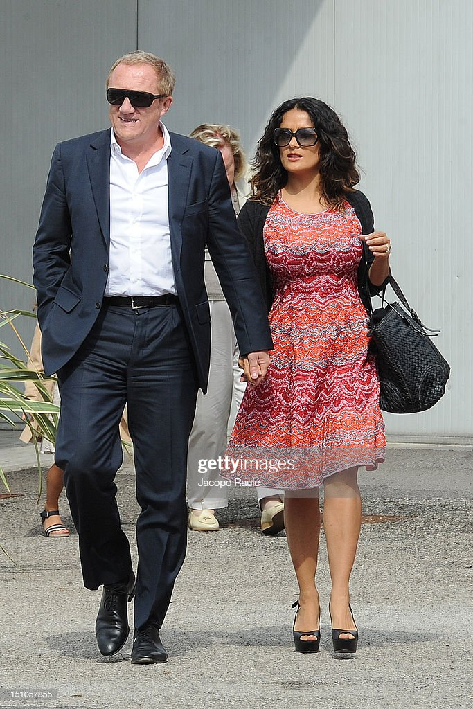 Actress <a gi-track='captionPersonalityLinkClicked' href=/galleries/search?phrase=Salma+Hayek&family=editorial&specificpeople=201844 ng-click='$event.stopPropagation()'>Salma Hayek</a> and <a gi-track='captionPersonalityLinkClicked' href=/galleries/search?phrase=Francois-Henri+Pinault&family=editorial&specificpeople=532174 ng-click='$event.stopPropagation()'>Francois-Henri Pinault</a> are seen during The 69th Venice Film Festival on August 31, 2012 in Venice, Italy.