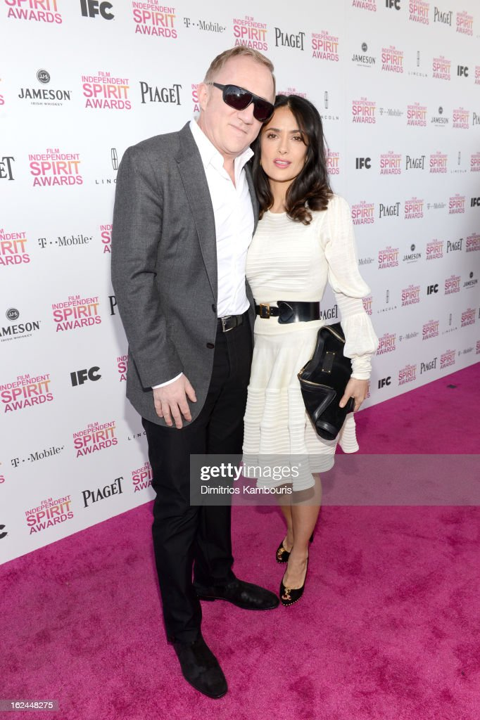 Actress Salma Hayek (R) and Francois-Henri Pinault arrive with Jameson prior to the 2013 Film Independent Spirit Awards at Santa Monica Beach on February 23, 2013 in Santa Monica, California.