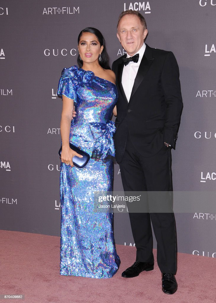 Actress Salma Hayek and husband Francois-Henri Pinault attend the 2017 LACMA Art + Film gala at LACMA on November 4, 2017 in Los Angeles, California.