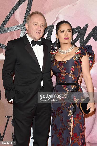 Actress Salma Hayek and husband FrancoisHenri Pinault attend The Fashion Awards 2016 on December 5 2016 in London United Kingdom