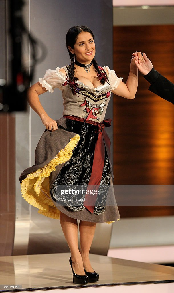 Actress Salma Hayek and presenter Thomas Gottschalk dance during the 176th 'Wetten dass' show at the Messe Nuernberg on October 4 2008 in Nuremberg...