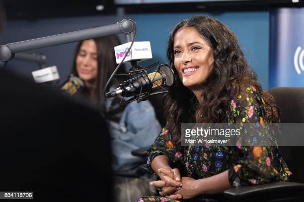 Actress Salma Hayek and SiriusXM host Symon speak on air as Salma Hayek visits the SiriusXM Studios on August 17 2017 in Los Angeles California
