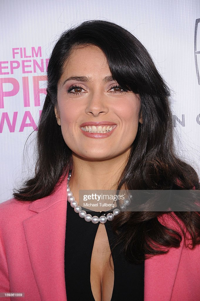 Actress Salma Hayek arrives at a brunch honoring the nominees for the 2013 Film Independent Filmmaker Grant and Spirit Awards at BOA Steakhouse on January 12, 2013 in West Hollywood, California.