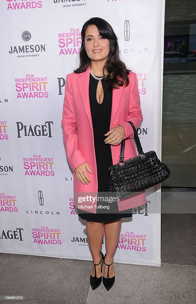 Actress <a gi-track='captionPersonalityLinkClicked' href=/galleries/search?phrase=Salma+Hayek&family=editorial&specificpeople=201844 ng-click='$event.stopPropagation()'>Salma Hayek</a> arrives at a brunch honoring the nominees for the 2013 Film Independent Filmmaker Grant and Spirit Awards at BOA Steakhouse on January 12, 2013 in West Hollywood, California.