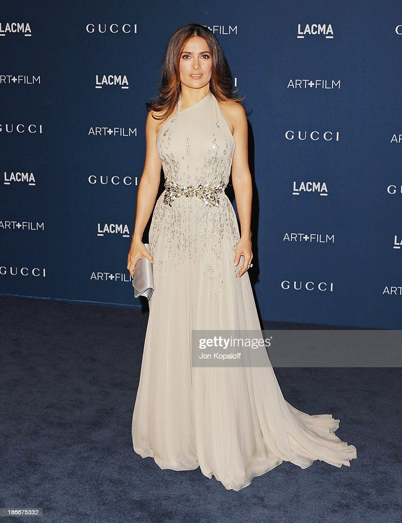 Actress <a gi-track='captionPersonalityLinkClicked' href=/galleries/search?phrase=Salma+Hayek&family=editorial&specificpeople=201844 ng-click='$event.stopPropagation()'>Salma Hayek</a> arrives at LACMA 2013 Art + Film Gala at LACMA on November 2, 2013 in Los Angeles, California.