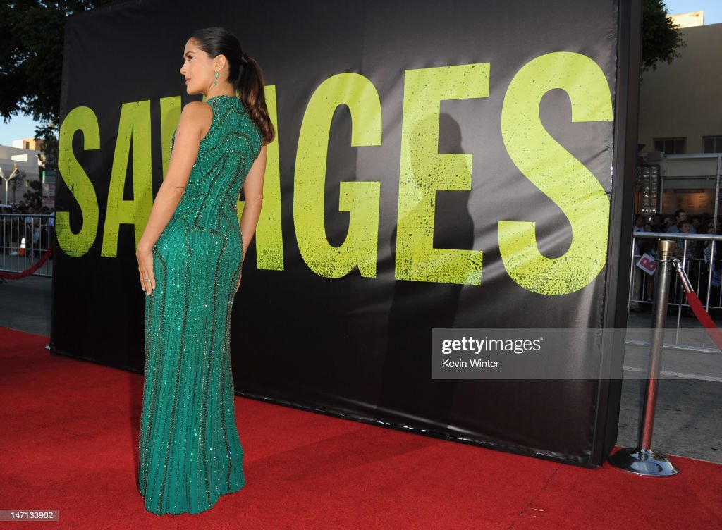 Actress Salma Hayek arrives at Premiere of Universal Pictures' 'Savages' at Westwood Village on June 25, 2012 in Los Angeles, California.