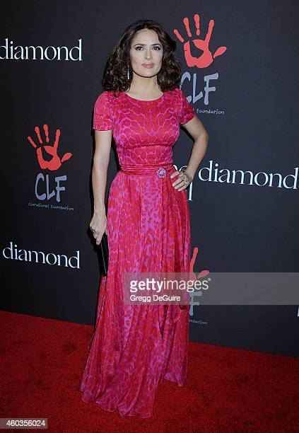 Actress Salma Hayek arrives at Rihanna's First Annual Diamond Ball at The Vineyard on December 11 2014 in Beverly Hills California