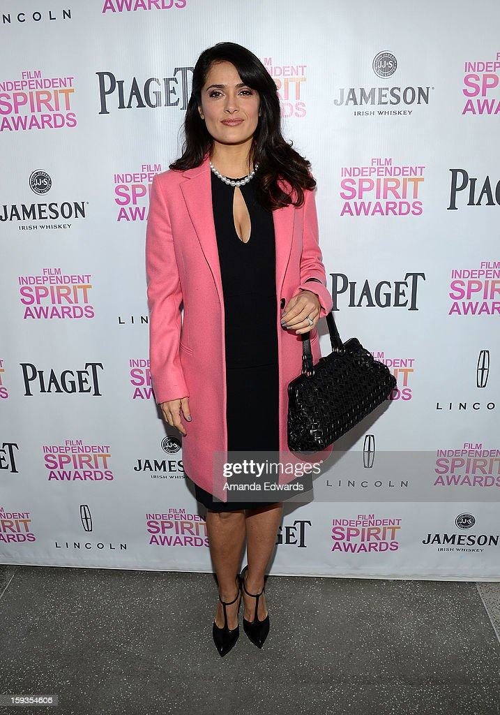 Actress <a gi-track='captionPersonalityLinkClicked' href=/galleries/search?phrase=Salma+Hayek&family=editorial&specificpeople=201844 ng-click='$event.stopPropagation()'>Salma Hayek</a> arrives at the 2013 Film Independent Filmmaker Grant And Spirit Awards Nominees Brunch at BOA Steakhouse on January 12, 2013 in West Hollywood, California.