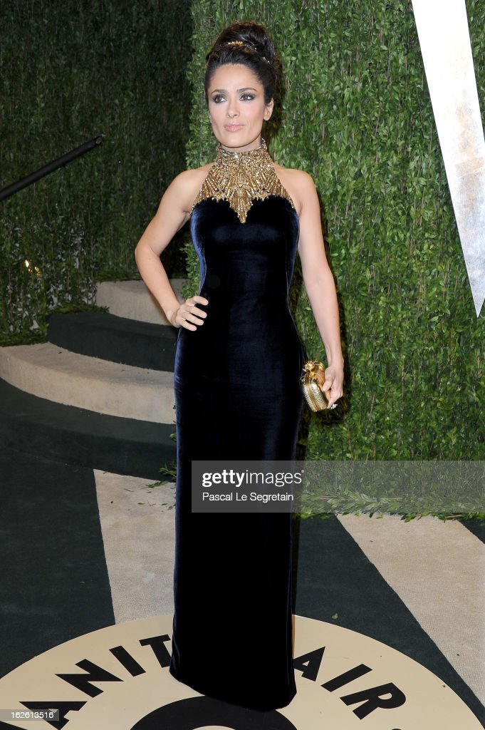 Actress Salma Hayek arrives at the 2013 Vanity Fair Oscar Party hosted by Graydon Carter at Sunset Tower on February 24 2013 in West Hollywood...