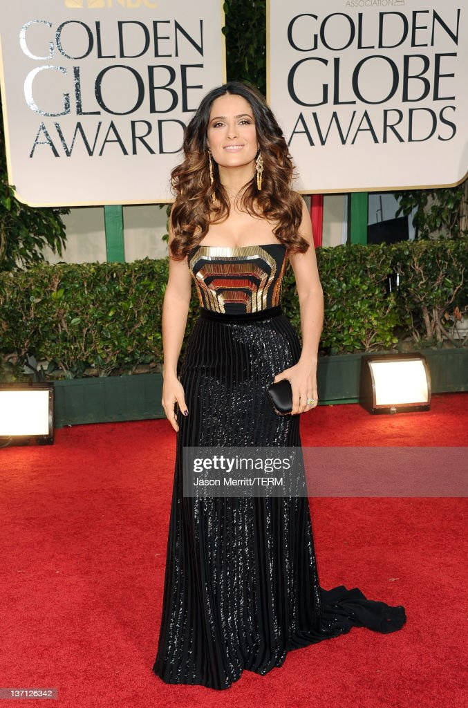 Actress Salma Hayek arrives at the 69th Annual Golden Globe Awards held at the Beverly Hilton Hotel on January 15 2012 in Beverly Hills California