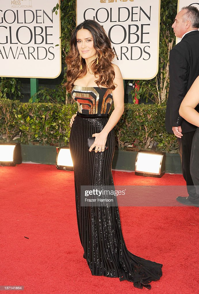 Actress Salma Hayek arrives at the 69th Annual Golden Globe Awards held at the Beverly Hilton Hotel on January 15, 2012 in Beverly Hills, California.