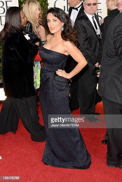Actress Salma Hayek arrives at the 70th Annual Golden Globe Awards held at The Beverly Hilton Hotel on January 13 2013 in Beverly Hills California