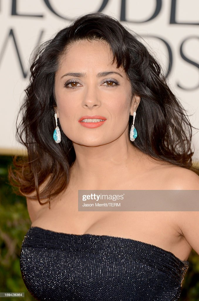 Actress Salma Hayek arrives at the 70th Annual Golden Globe Awards held at The Beverly Hilton Hotel on January 13, 2013 in Beverly Hills, California.