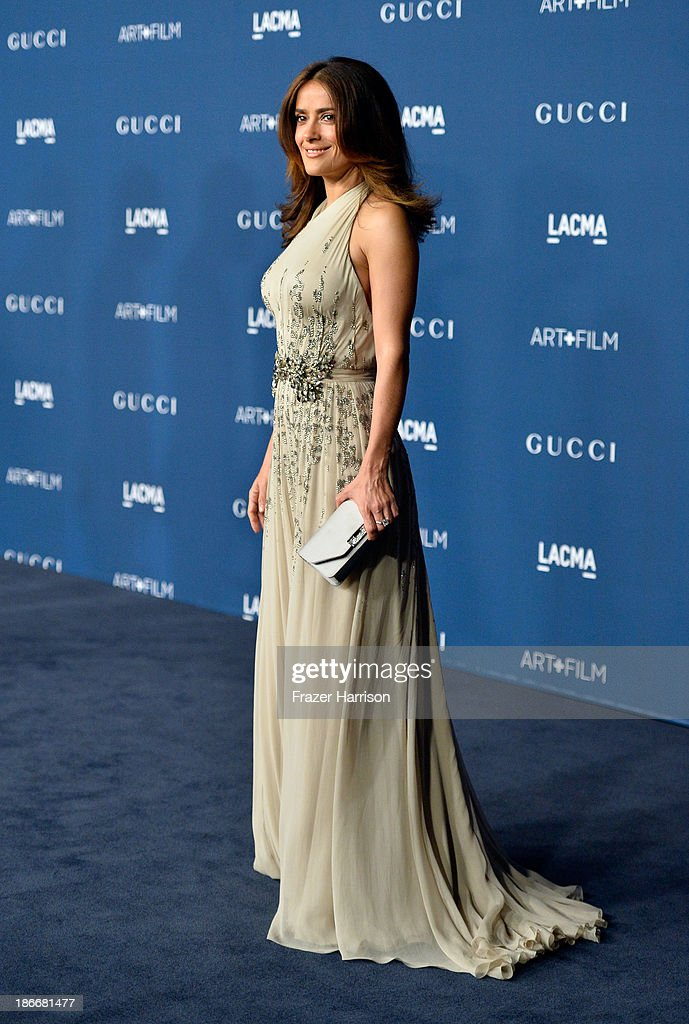 Actress <a gi-track='captionPersonalityLinkClicked' href=/galleries/search?phrase=Salma+Hayek&family=editorial&specificpeople=201844 ng-click='$event.stopPropagation()'>Salma Hayek</a> arrives at the LACMA 2013 Art + Film Gala on November 2, 2013 in Los Angeles, California.