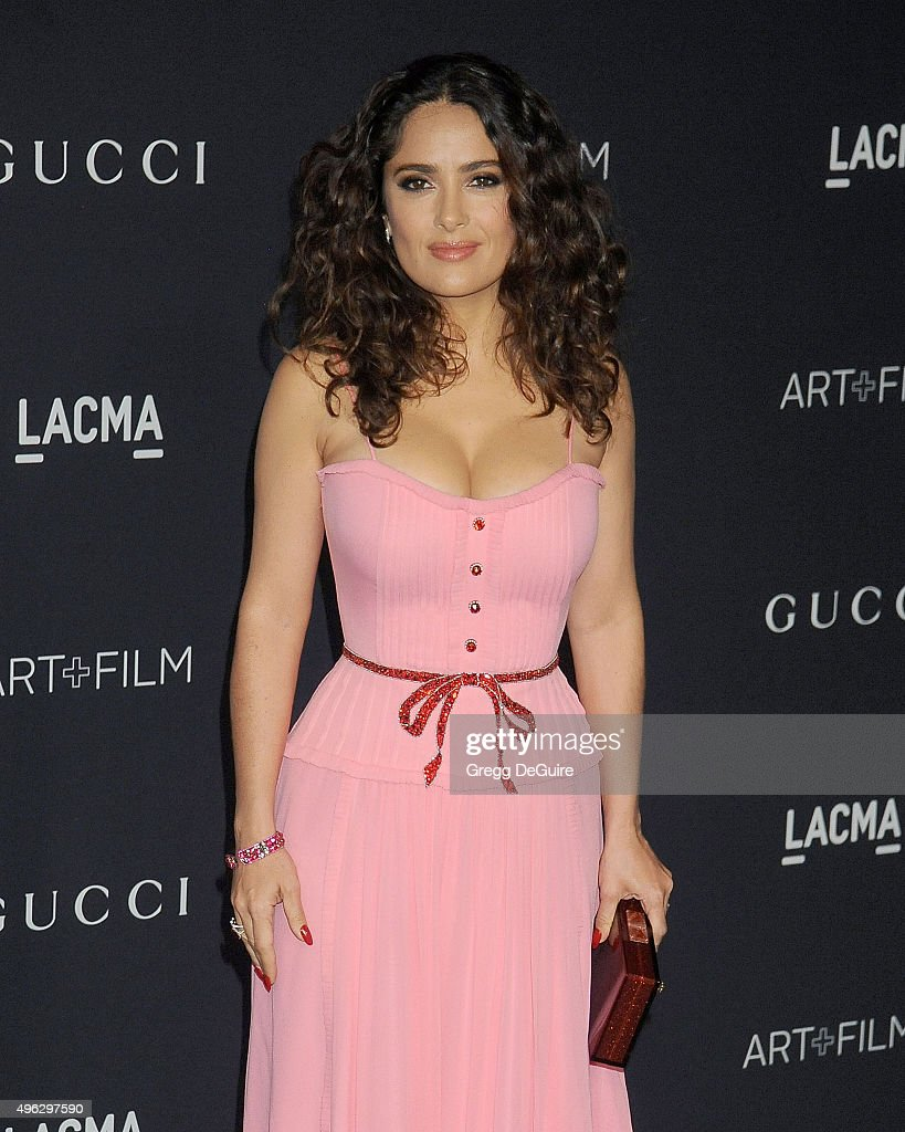 Actress <a gi-track='captionPersonalityLinkClicked' href=/galleries/search?phrase=Salma+Hayek&family=editorial&specificpeople=201844 ng-click='$event.stopPropagation()'>Salma Hayek</a> arrives at the LACMA 2015 Art+Film Gala Honoring James Turrell And Alejandro G Inarritu, Presented By Gucci at LACMA on November 7, 2015 in Los Angeles, California.