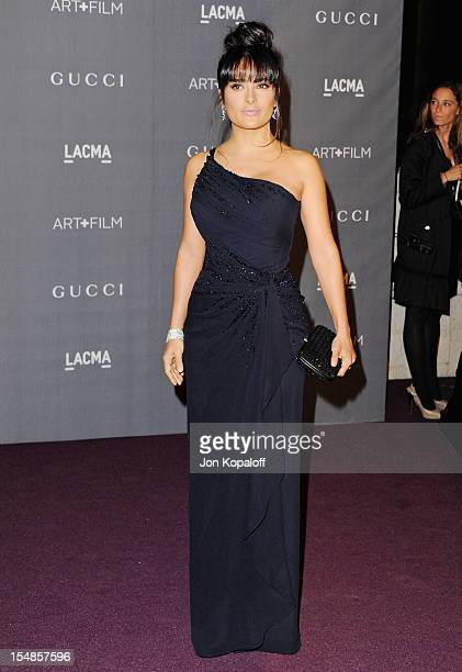 Actress Salma Hayek arrives at the LACMA Art Gala at LACMA on October 27 2012 in Los Angeles California