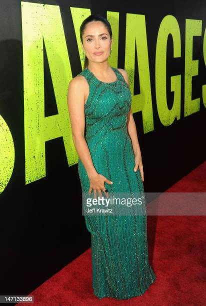Actress Salma Hayek arrives at the Los Angeles Premiere of 'Savages' at Mann Village Theatre on June 25 2012 in Westwood California