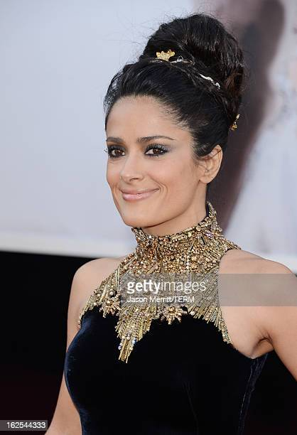Actress Salma Hayek arrives at the Oscars at Hollywood Highland Center on February 24 2013 in Hollywood California