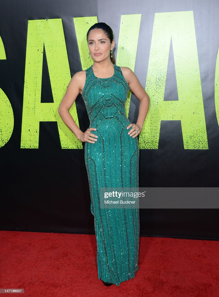Actress <a gi-track='captionPersonalityLinkClicked' href=/galleries/search?phrase=Salma+Hayek&family=editorial&specificpeople=201844 ng-click='$event.stopPropagation()'>Salma Hayek</a> arrives at the premiere of Universal Pictures' 'Savages' at Westwood Village on June 25, 2012 in Los Angeles, California.
