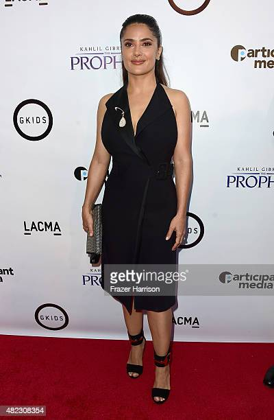 Actress Salma Hayek arrives at the Screening of GKIDS' 'Kahlil Gibran's The Prophet' at Bing Theatre At LACMA on July 29 2015 in Los Angeles...