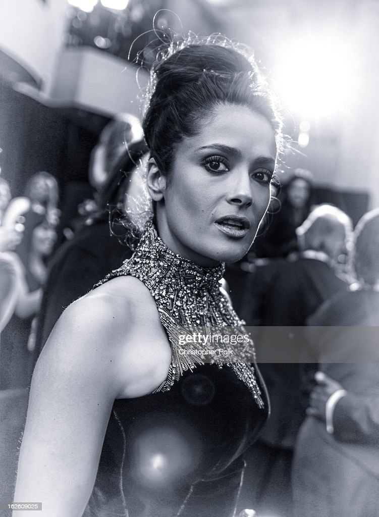 Actress <a gi-track='captionPersonalityLinkClicked' href=/galleries/search?phrase=Salma+Hayek&family=editorial&specificpeople=201844 ng-click='$event.stopPropagation()'>Salma Hayek</a> attend the 87th Annual Academy Awards at Hollywood & Highland Center on February 24, 2013 in Hollywood, California.