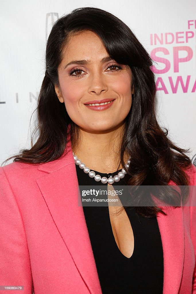 Actress <a gi-track='captionPersonalityLinkClicked' href=/galleries/search?phrase=Salma+Hayek&family=editorial&specificpeople=201844 ng-click='$event.stopPropagation()'>Salma Hayek</a> attends the 2013 Film Independent Filmmaker Grant And Spirit Award Nominees Brunch at BOA Steakhouse on January 12, 2013 in West Hollywood, California.