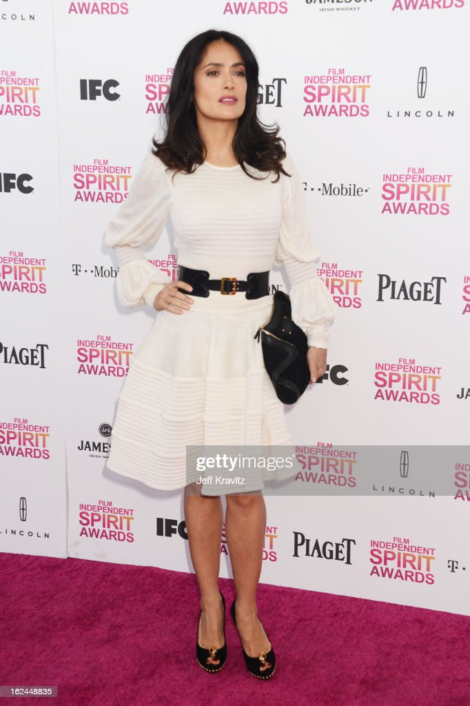 Actress Salma Hayek attends the 2013 Film Independent Spirit Awards at Santa Monica Beach on February 23, 2013 in Santa Monica, California.