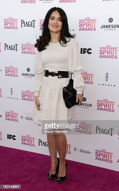 Actress Salma Hayek attends the 2013 Film Independent Spirit Awards at Santa Monica Beach on February 23 2013 in Santa Monica California