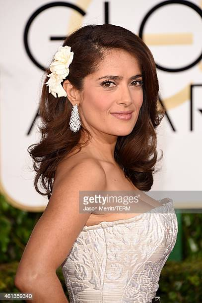 Actress Salma Hayek attends the 72nd Annual Golden Globe Awards at The Beverly Hilton Hotel on January 11 2015 in Beverly Hills California